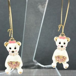 Betsey Johnson Dollhouse Bear enamel earrings